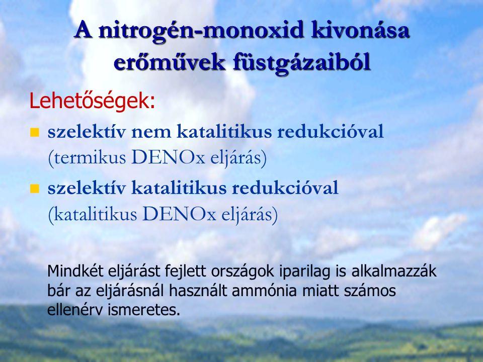 A nitrogén-monoxid kivonása erőművek füstgázaiból Lehetőségek: szelektív nem katalitikus redukcióval (termikus DENOx eljárás) szelektív katalitikus re