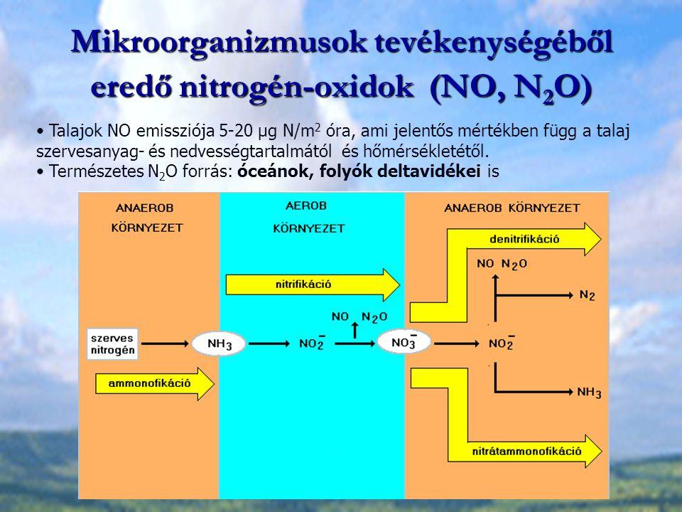 Mikroorganizmusok tevékenységéből eredő nitrogén-oxidok (NO, N 2 O) Talajok NO emissziója 5-20 μg N/m 2 óra, ami jelentős mértékben függ a talaj szerv
