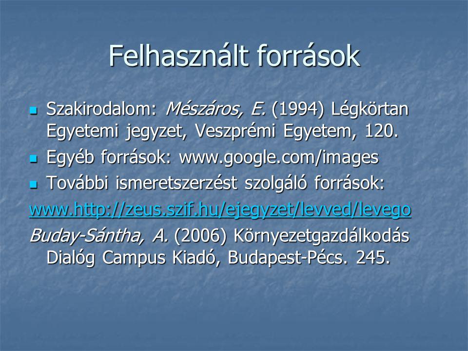 Felhasznált források Szakirodalom: Mészáros, E. (1994) Légkörtan Egyetemi jegyzet, Veszprémi Egyetem, 120. Szakirodalom: Mészáros, E. (1994) Légkörtan