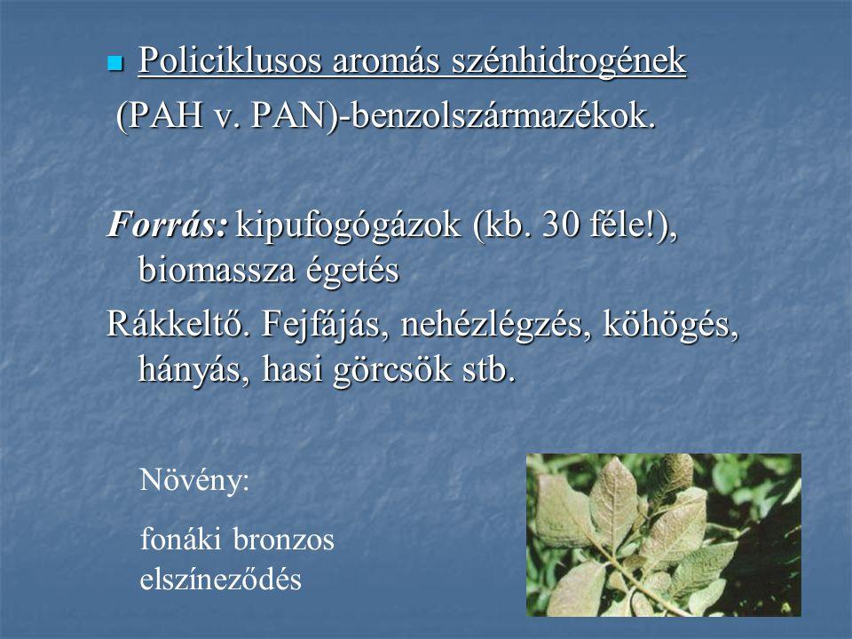 Policiklusos aromás szénhidrogének Policiklusos aromás szénhidrogének (PAH v. PAN)-benzolszármazékok. (PAH v. PAN)-benzolszármazékok. Forrás: kipufogó