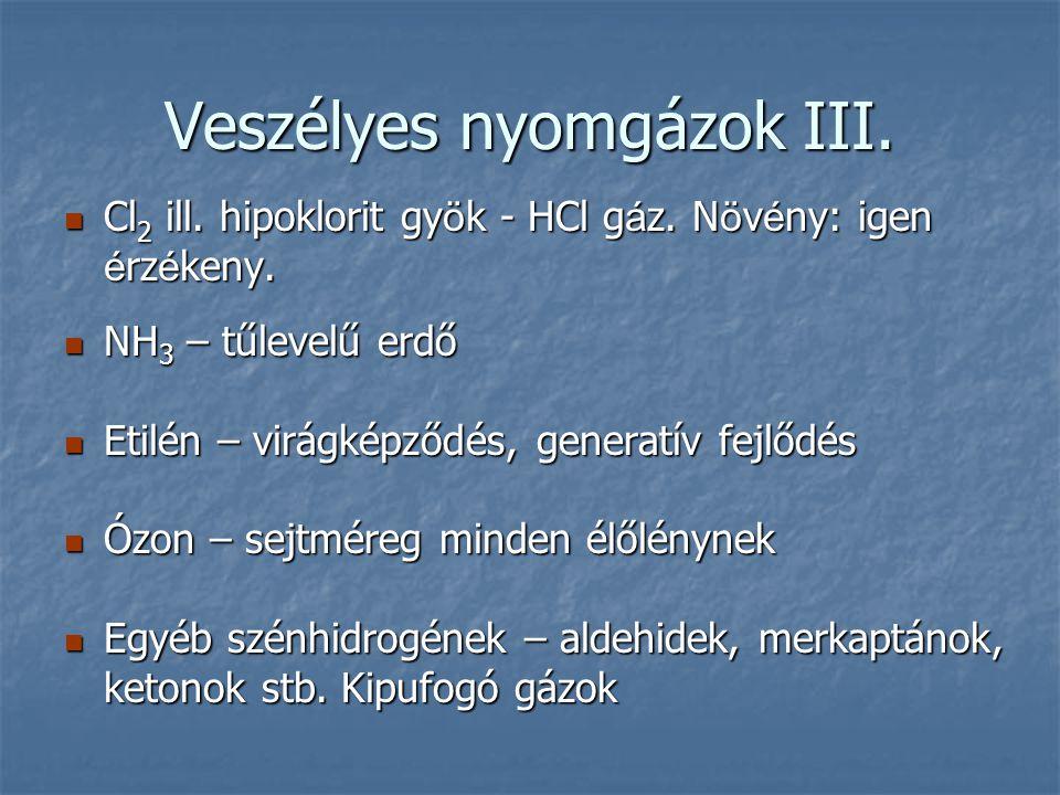 Veszélyes nyomgázok III. Cl 2 ill. hipoklorit gy ö k - HCl g á z. N ö v é ny: igen é rz é keny. Cl 2 ill. hipoklorit gy ö k - HCl g á z. N ö v é ny: i