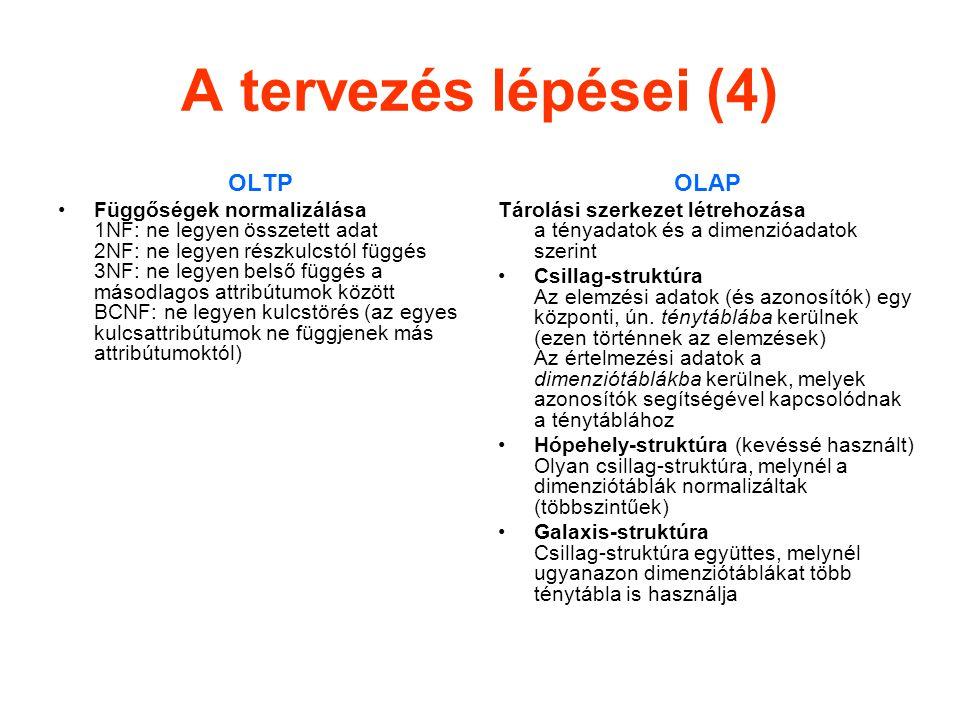 A tervezés lépései (4) OLTP Függőségek normalizálása 1NF: ne legyen összetett adat 2NF: ne legyen részkulcstól függés 3NF: ne legyen belső függés a másodlagos attribútumok között BCNF: ne legyen kulcstörés (az egyes kulcsattribútumok ne függjenek más attribútumoktól) OLAP Tárolási szerkezet létrehozása a tényadatok és a dimenzióadatok szerint Csillag-struktúra Az elemzési adatok (és azonosítók) egy központi, ún.