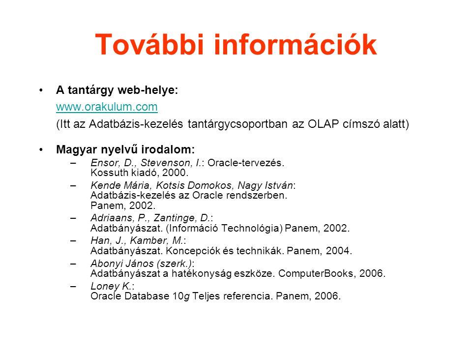 További információk A tantárgy web-helye: www.orakulum.com (Itt az Adatbázis-kezelés tantárgycsoportban az OLAP címszó alatt) www.orakulum.com Magyar nyelvű irodalom: –Ensor, D., Stevenson, I.: Oracle-tervezés.