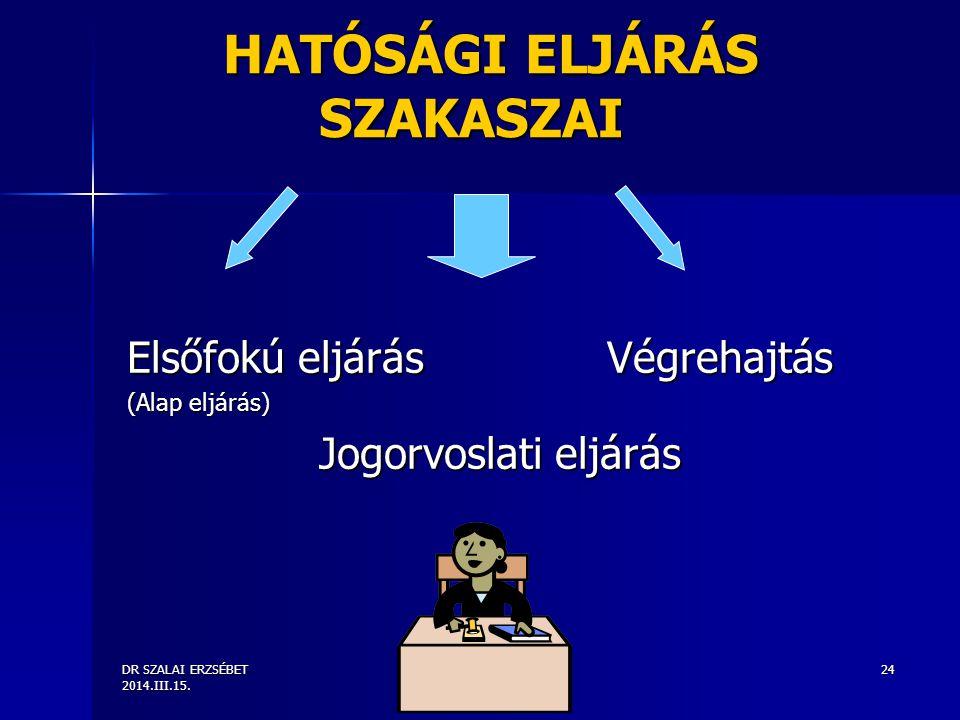 DR SZALAI ERZSÉBET 2014.III.15. 24 HATÓSÁGI ELJÁRÁS SZAKASZAI Elsőfokú eljárás Végrehajtás (Alap eljárás) Jogorvoslati eljárás