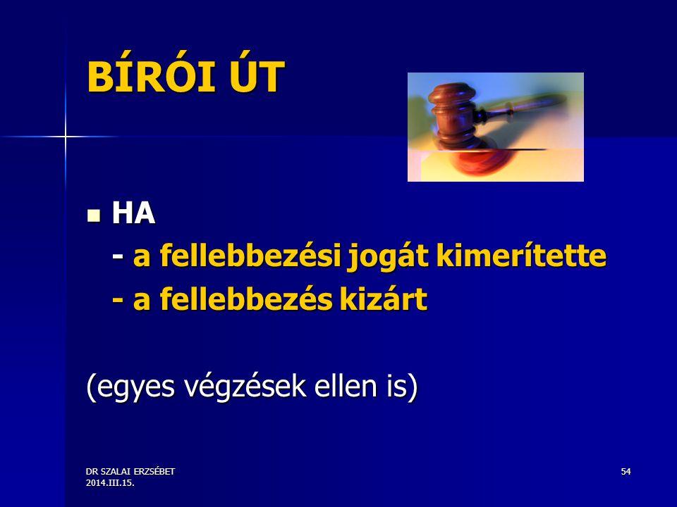 DR SZALAI ERZSÉBET 2014.III.15. 54 BÍRÓI ÚT HA HA - a fellebbezési jogát kimerítette - a fellebbezés kizárt (egyes végzések ellen is)