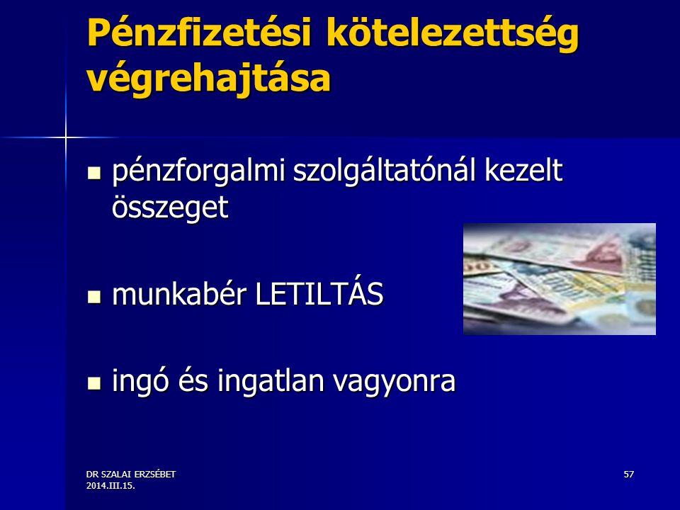 DR SZALAI ERZSÉBET 2014.III.15. 57 Pénzfizetési kötelezettség végrehajtása pénzforgalmi szolgáltatónál kezelt összeget pénzforgalmi szolgáltatónál kez