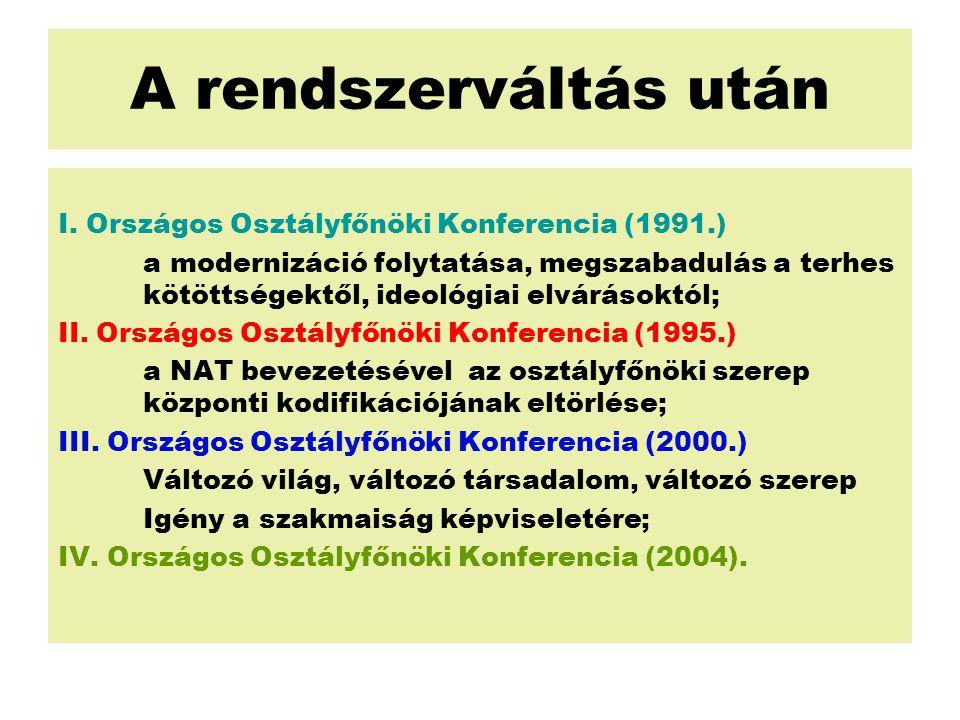 A rendszerváltás után I. Országos Osztályfőnöki Konferencia (1991.) a modernizáció folytatása, megszabadulás a terhes kötöttségektől, ideológiai elvár