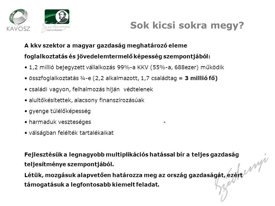 A kkv szektor a magyar gazdaság meghatározó eleme foglalkoztatás és jövedelemtermelő képesség szempontjából: 1,2 millió bejegyzett vállalkozás 99%-a K