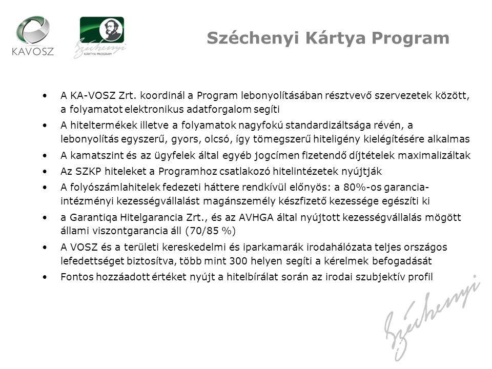 A KA-VOSZ Zrt. koordinál a Program lebonyolításában résztvevő szervezetek között, a folyamatot elektronikus adatforgalom segíti A hiteltermékek illetv