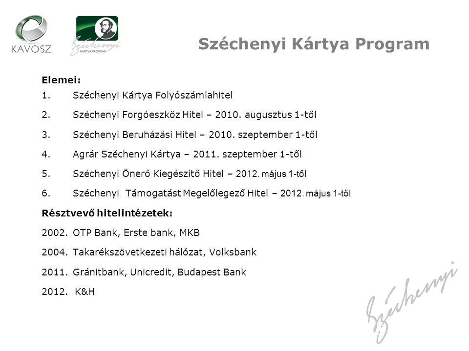 Elemei: 1.Széchenyi Kártya Folyószámlahitel 2.Széchenyi Forgóeszköz Hitel – 2010. augusztus 1-től 3.Széchenyi Beruházási Hitel – 2010. szeptember 1-tő