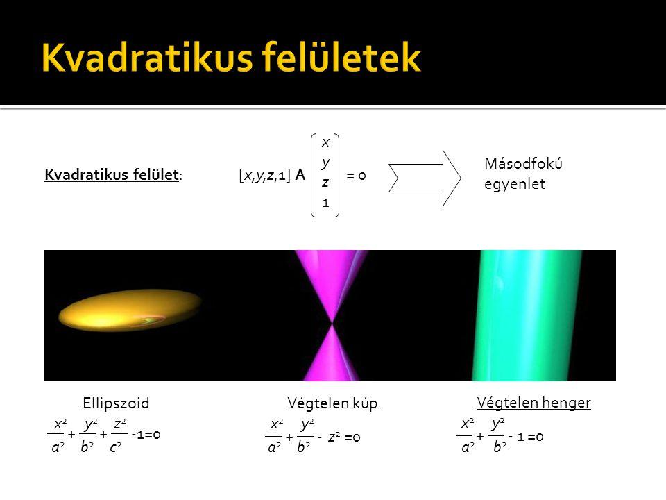  +  +  -1=0 xyz1xyz1 [x,y,z,1] A = 0Kvadratikus felület: Másodfokú egyenlet Ellipszoid x 2 y 2 z 2 a 2 b 2 c 2  +  - z 2 =0 Végtelen kúp x 2 y 2 a 2 b 2 Végtelen henger x 2 y 2 a 2 b 2  +  - 1 =0