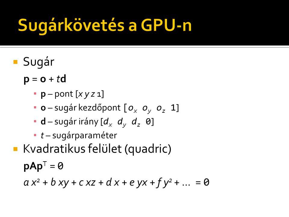  Sugár p = o + td ▪ p – pont [x y z 1] ▪ o – sugár kezdőpont [o x o y o z 1 ] ▪ d – sugár irány [ d x d y d z 0 ] ▪ t – sugárparaméter  Kvadratikus felület (quadric) pAp T = 0 a x 2 + b xy + c xz + d x + e yx + f y 2 + … = 0