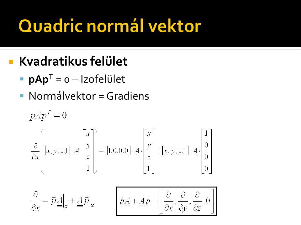  Kvadratikus felület  pAp T = 0 – Izofelület  Normálvektor = Gradiens