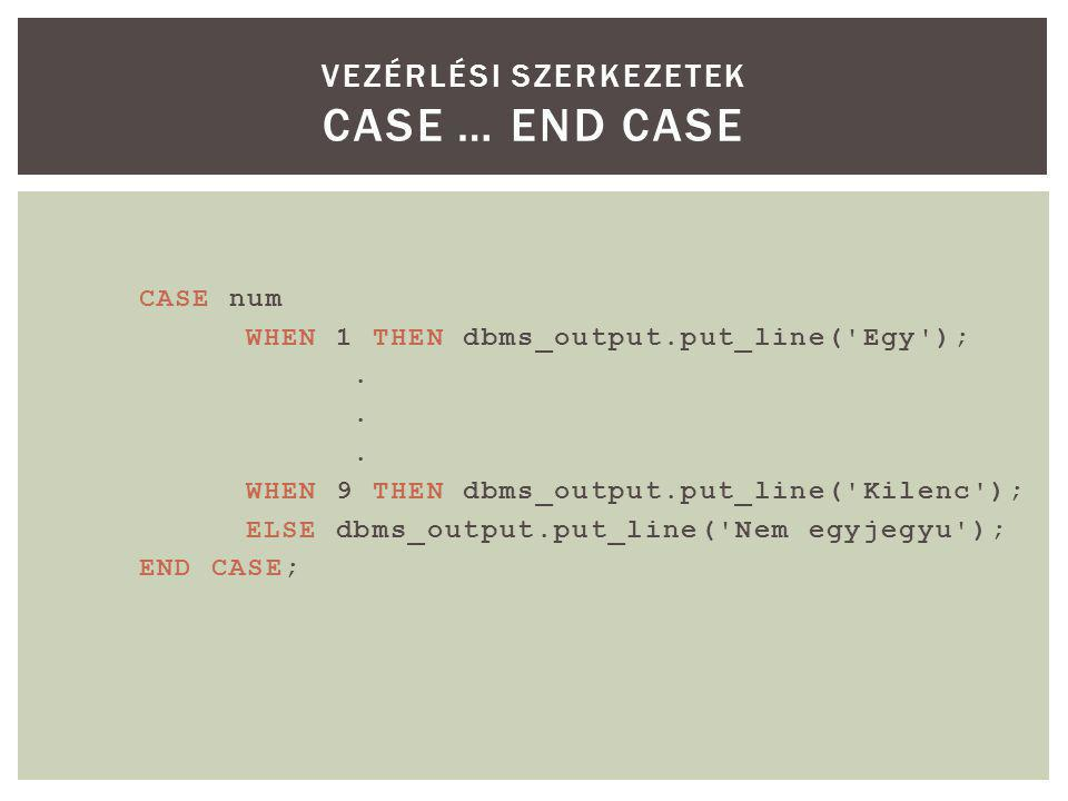 CASE num WHEN 1 THEN dbms_output.put_line( Egy );.