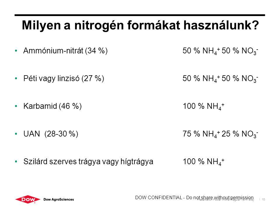 Presentation Footer in Arial Regular 7pt in Gray | 10 Milyen a nitrogén formákat használunk? Ammónium-nitrát (34 %) 50 % NH 4 + 50 % NO 3 - Péti vagy