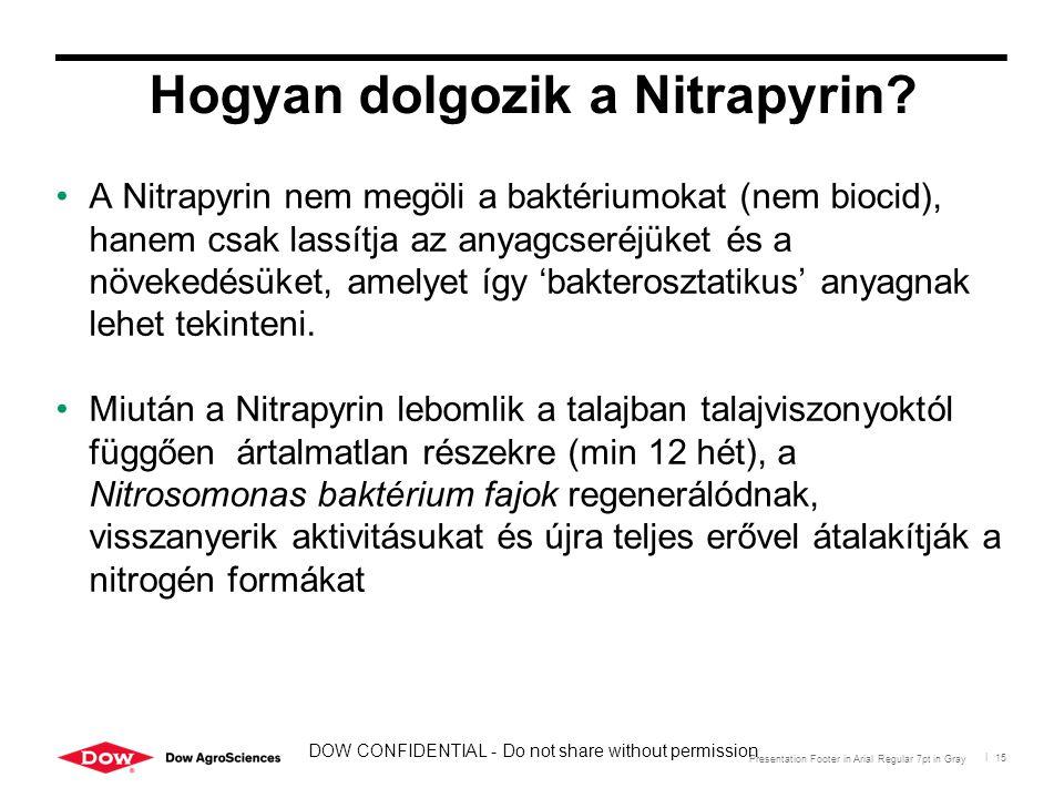Presentation Footer in Arial Regular 7pt in Gray | 15 Hogyan dolgozik a Nitrapyrin? A Nitrapyrin nem megöli a baktériumokat (nem biocid), hanem csak l