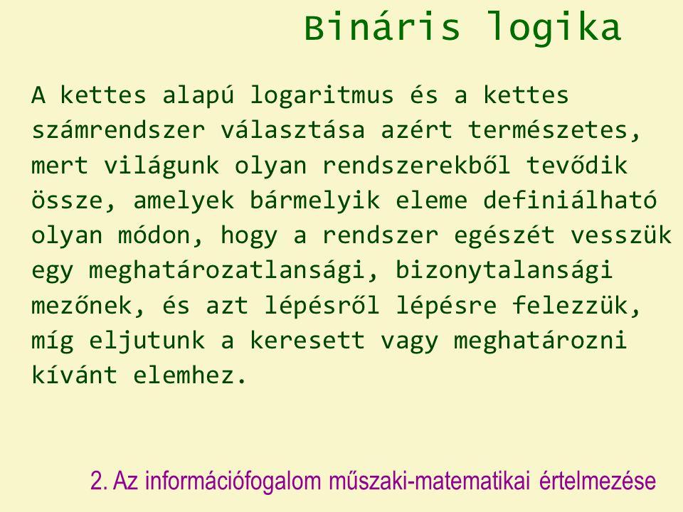 Bináris logika A kettes alapú logaritmus és a kettes számrendszer választása azért természetes, mert világunk olyan rendszerekből tevődik össze, amelyek bármelyik eleme definiálható olyan módon, hogy a rendszer egészét vesszük egy meghatározatlansági, bizonytalansági mezőnek, és azt lépésről lépésre felezzük, míg eljutunk a keresett vagy meghatározni kívánt elemhez.