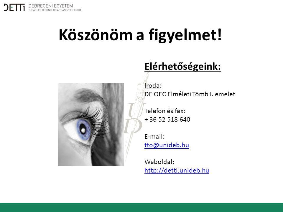 Elérhetőségeink: Iroda: DE OEC Elméleti Tömb I.