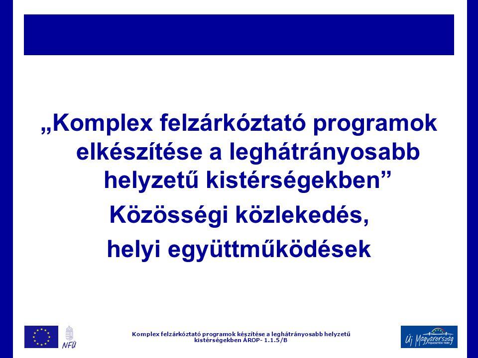 """""""Komplex felzárkóztató programok elkészítése a leghátrányosabb helyzetű kistérségekben Közösségi közlekedés, helyi együttműködések Komplex felzárkóztató programok készítése a leghátrányosabb helyzetű kistérségekben ÁROP- 1.1.5/B"""
