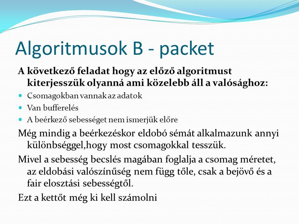 Algoritmusok B - packet A következő feladat hogy az előző algoritmust kiterjesszük olyanná ami közelebb áll a valósághoz: Csomagokban vannak az adatok