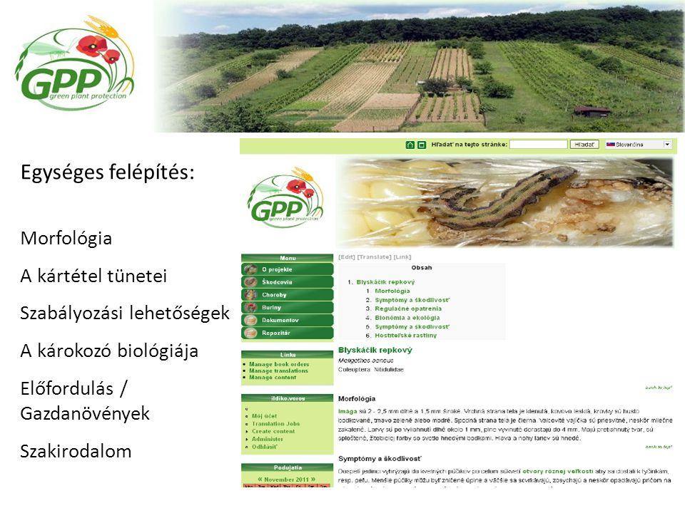 Egységes felépítés: Morfológia A kártétel tünetei Szabályozási lehetőségek A károkozó biológiája Előfordulás / Gazdanövények Szakirodalom