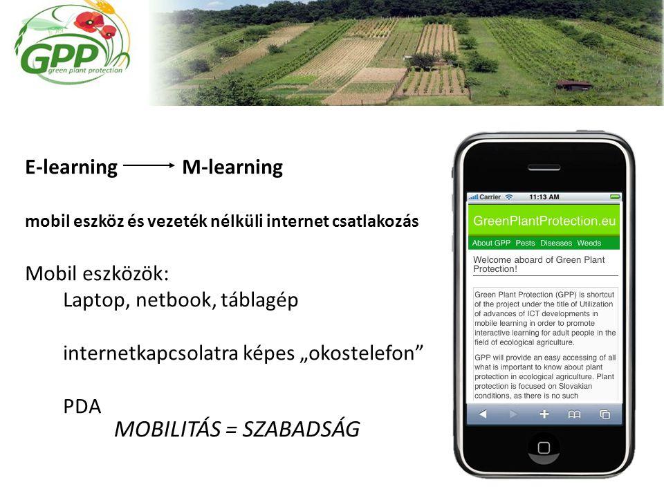 """E-learning M-learning mobil eszköz és vezeték nélküli internet csatlakozás Mobil eszközök: Laptop, netbook, táblagép internetkapcsolatra képes """"okostelefon PDA MOBILITÁS = SZABADSÁG"""
