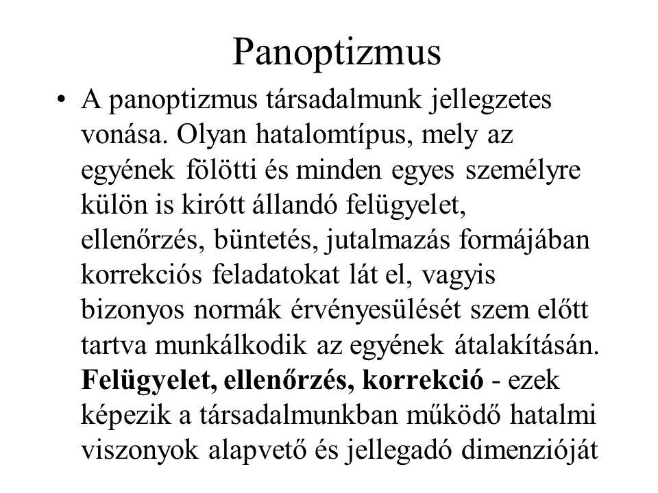 Panoptizmus A panoptizmus társadalmunk jellegzetes vonása.