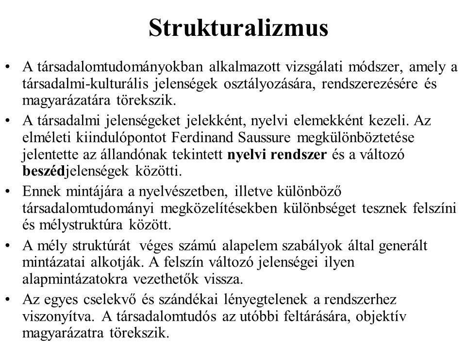 Strukturalizmus A társadalomtudományokban alkalmazott vizsgálati módszer, amely a társadalmi-kulturális jelenségek osztályozására, rendszerezésére és magyarázatára törekszik.