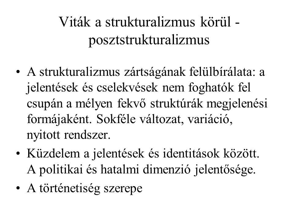 Viták a strukturalizmus körül - posztstrukturalizmus A strukturalizmus zártságának felülbírálata: a jelentések és cselekvések nem foghatók fel csupán a mélyen fekvő struktúrák megjelenési formájaként.