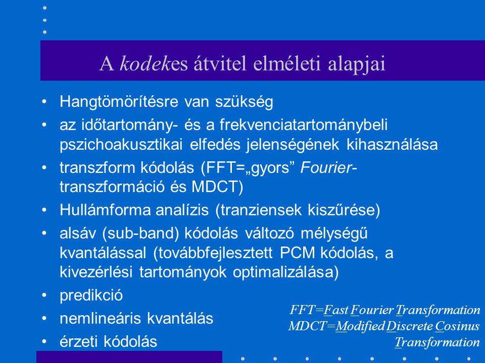 """A kodekes átvitel elméleti alapjai Hangtömörítésre van szükség az időtartomány- és a frekvenciatartománybeli pszichoakusztikai elfedés jelenségének kihasználása transzform kódolás (FFT=""""gyors Fourier- transzformáció és MDCT) Hullámforma analízis (tranziensek kiszűrése) alsáv (sub-band) kódolás változó mélységű kvantálással (továbbfejlesztett PCM kódolás, a kivezérlési tartományok optimalizálása) predikció nemlineáris kvantálás érzeti kódolás FFT=Fast Fourier Transformation MDCT=Modified Discrete Cosinus Transformation"""