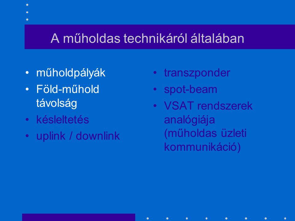 A műholdas technikáról általában műholdpályák Föld-műhold távolság késleltetés uplink / downlink transzponder spot-beam VSAT rendszerek analógiája (mű