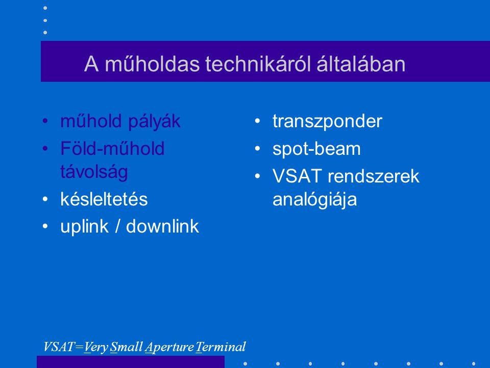 A műholdas technikáról általában műhold pályák Föld-műhold távolság késleltetés uplink / downlink transzponder spot-beam VSAT rendszerek analógiája VSAT=Very Small Aperture Terminal