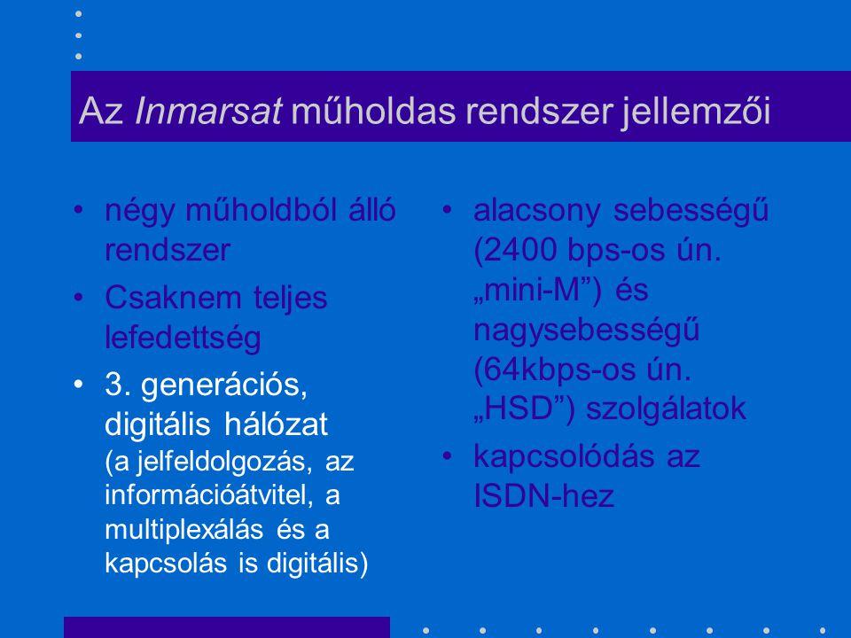 Az Inmarsat műholdas rendszer jellemzői négy műholdból álló rendszer Csaknem teljes lefedettség 3. generációs, digitális hálózat (a jelfeldolgozás, az