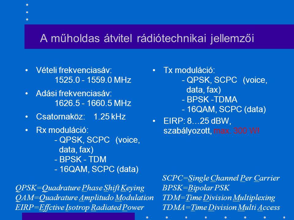 A műholdas átvitel rádiótechnikai jellemzői Vételi frekvenciasáv: 1525.0 - 1559.0 MHz Adási frekvenciasáv: 1626.5 - 1660.5 MHz Csatornaköz: 1.25 kHz Rx moduláció: - QPSK, SCPC (voice, data, fax) - BPSK - TDM - 16QAM, SCPC (data) Tx moduláció: - QPSK, SCPC (voice, data, fax) - BPSK -TDMA - 16QAM, SCPC (data) EIRP: 8…25 dBW, szabályozott, max.