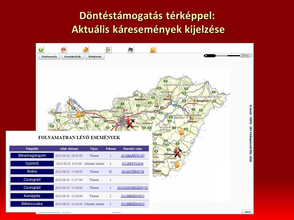 Döntéstámogatás térképpel: Aktuális káresemények kijelzése