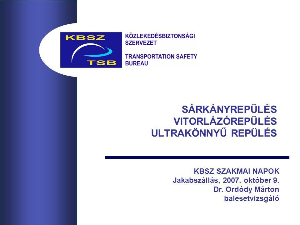 SÁRKÁNYREPÜLÉS VITORLÁZÓREPÜLÉS ULTRAKÖNNYŰ REPÜLÉS KBSZ SZAKMAI NAPOK Jakabszállás, 2007. október 9. Dr. Ordódy Márton balesetvizsgáló