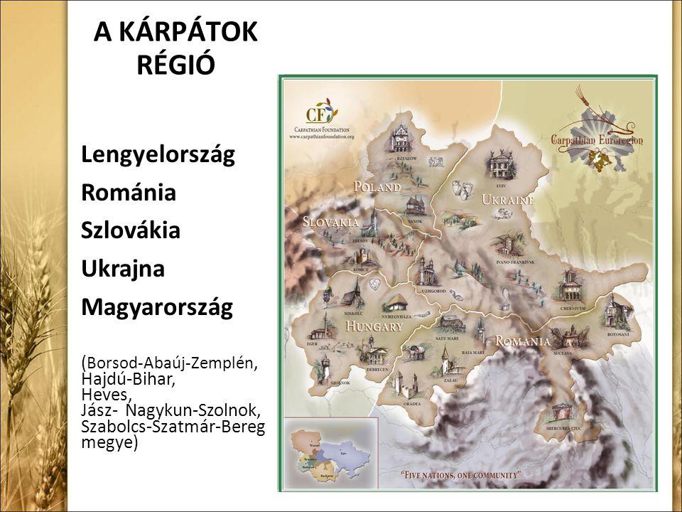 A KÁRPÁTOK RÉGIÓ Lengyelország Románia Szlovákia Ukrajna Magyarország ( Borsod-Abaúj-Zemplén, Hajdú-Bihar, Heves, Jász- Nagykun-Szolnok, Szabolcs-Szatmár-Bereg megye)
