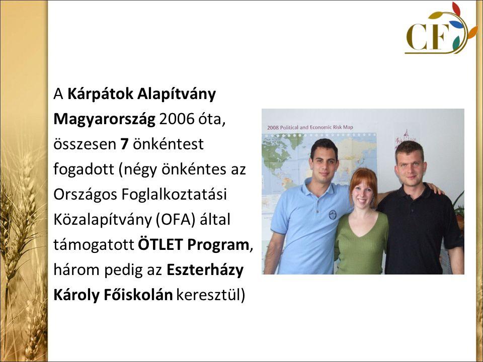 A Kárpátok Alapítvány Magyarország 2006 óta, összesen 7 önkéntest fogadott (négy önkéntes az Országos Foglalkoztatási Közalapítvány (OFA) által támogatott ÖTLET Program, három pedig az Eszterházy Károly Főiskolán keresztül)