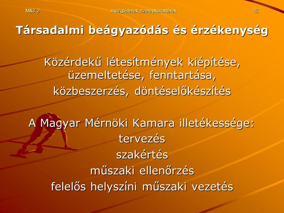 M&T 2mozgásterek, szerepkarakterek15 Társadalmi beágyazódás és érzékenység Közérdekű létesítmények kiépítése, üzemeltetése, fenntartása, közbeszerzés, döntéselőkészítés A Magyar Mérnöki Kamara illetékessége: tervezésszakértés műszaki ellenőrzés felelős helyszíni műszaki vezetés