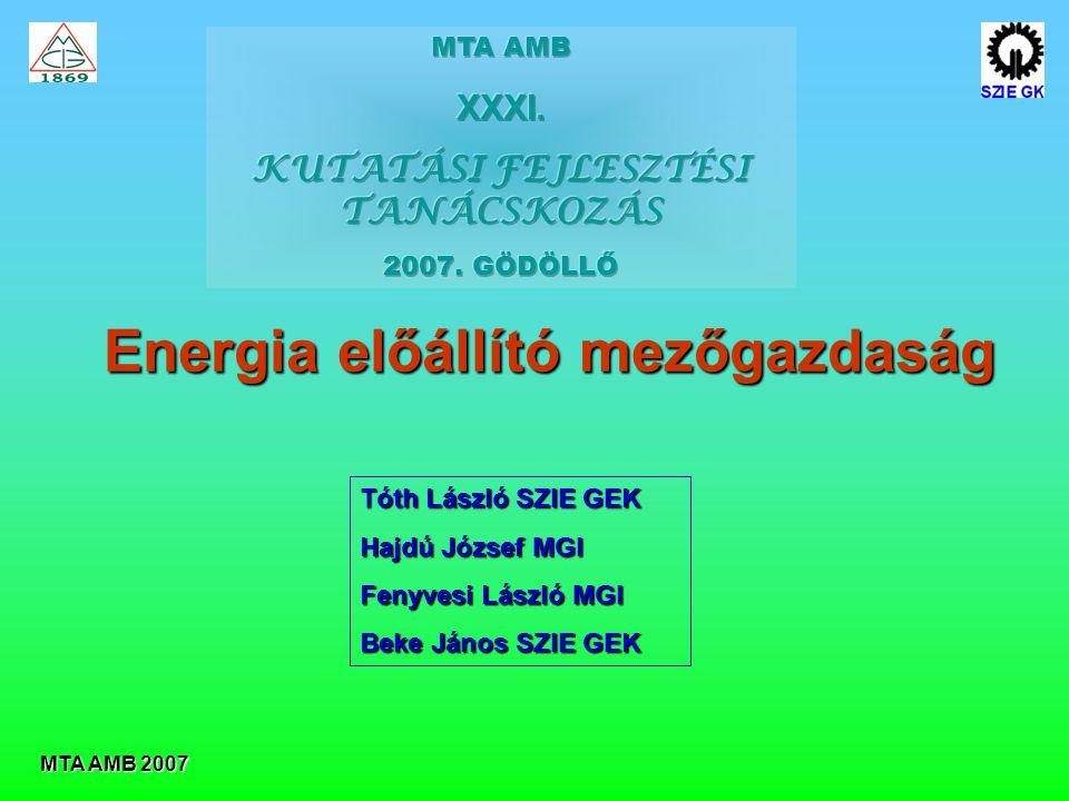 MTA AMB 2007 Energia előállító mezőgazdaság Tóth László SZIE GEK Hajdú József MGI Fenyvesi László MGI Beke János SZIE GEK