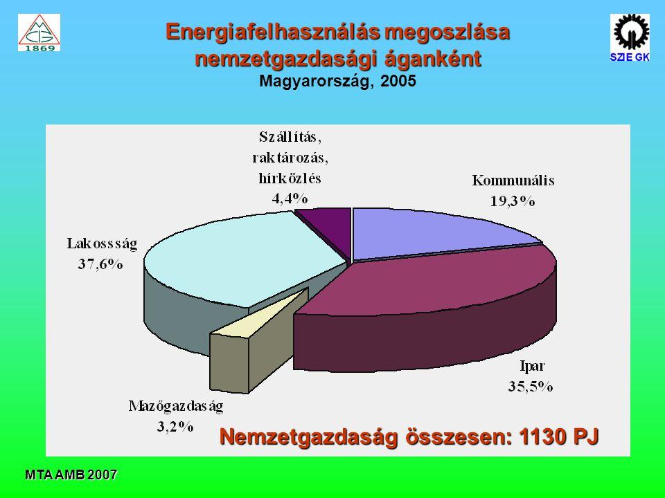 MTA AMB 2007 Energiafelhasználás megoszlása nemzetgazdasági áganként Magyarország, 2005 Nemzetgazdaság összesen: 1130 PJ