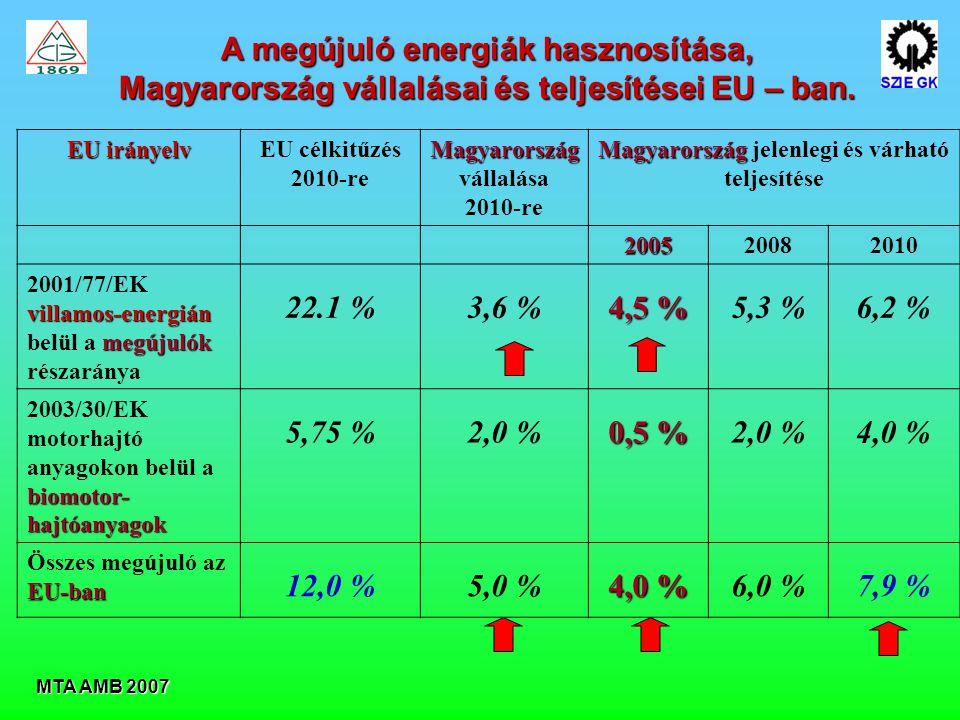 MTA AMB 2007 A megújuló energiák hasznosítása, Magyarország vállalásai és teljesítései EU – ban.