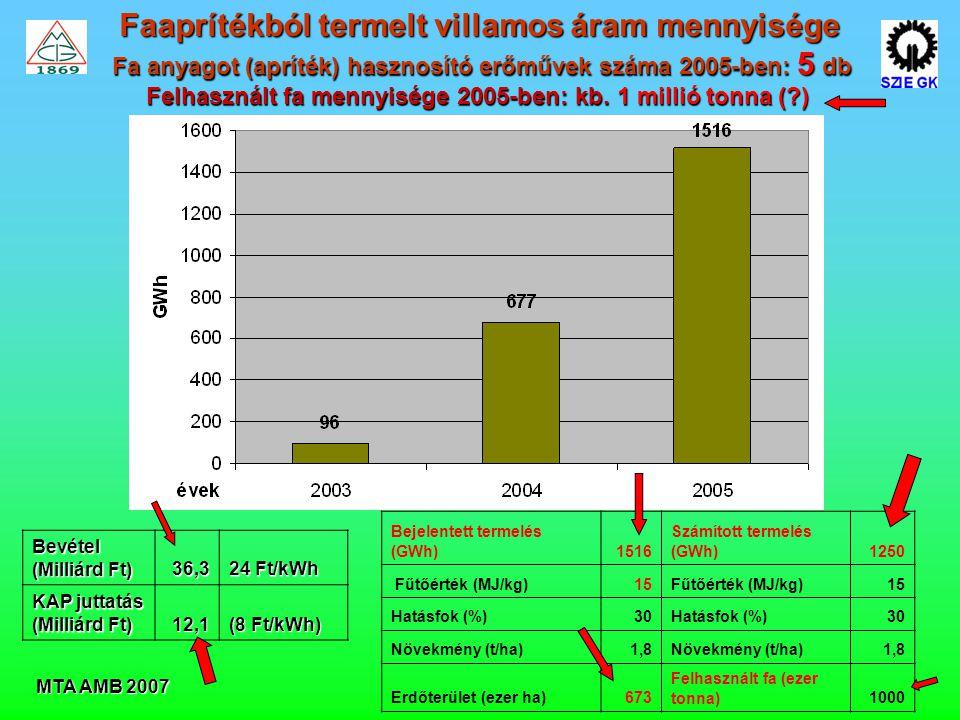 MTA AMB 2007 Faaprítékból termelt villamos áram mennyisége Fa anyagot (apríték) hasznosító erőművek száma 2005-ben: 5 db Felhasznált fa mennyisége 2005-ben: kb.