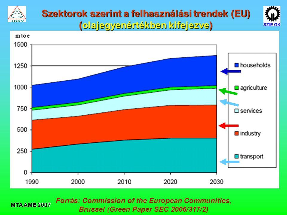 MTA AMB 2007 Szektorok szerint a felhasználási trendek (EU) (olajegyenértékben kifejezve) Forrás: Commission of the European Communities, Brussel (Green Paper SEC 2006/317/2)