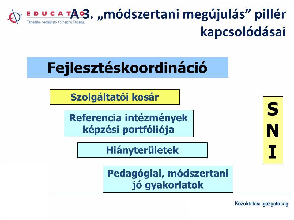 """A 3. """"módszertani megújulás"""" pillér kapcsolódásai Fejlesztéskoordináció Szolgáltatói kosár Referencia intézmények képzési portfóliója Hiányterületek S"""