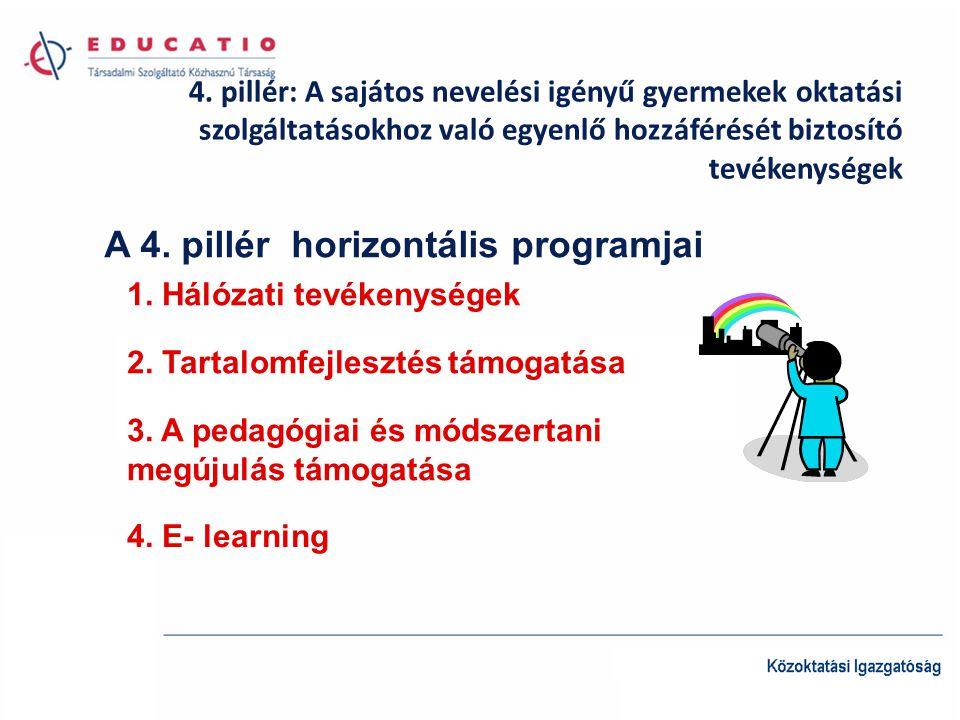 4. pillér: A sajátos nevelési igényű gyermekek oktatási szolgáltatásokhoz való egyenlő hozzáférését biztosító tevékenységek A 4. pillér horizontális p