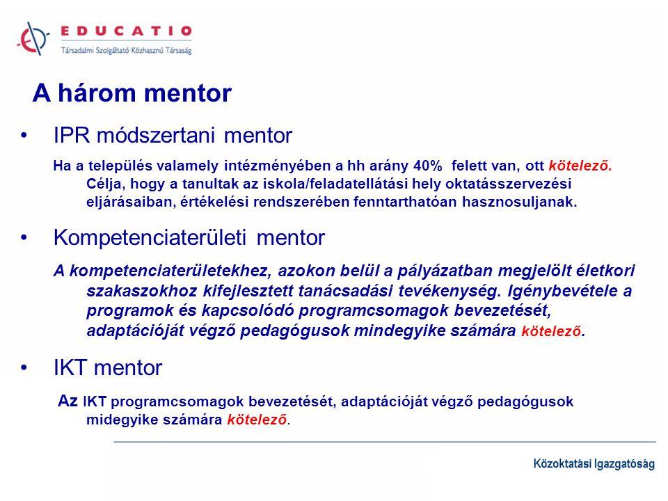 A három mentor IPR módszertani mentor Ha a település valamely intézményében a hh arány 40% felett van, ott kötelező.
