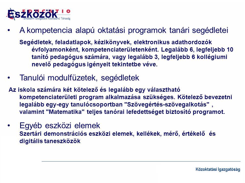 Eszközök A kompetencia alapú oktatási programok tanári segédletei Segédletek, feladatlapok, kézikönyvek, elektronikus adathordozók évfolyamonként, kompetenciaterületenként.