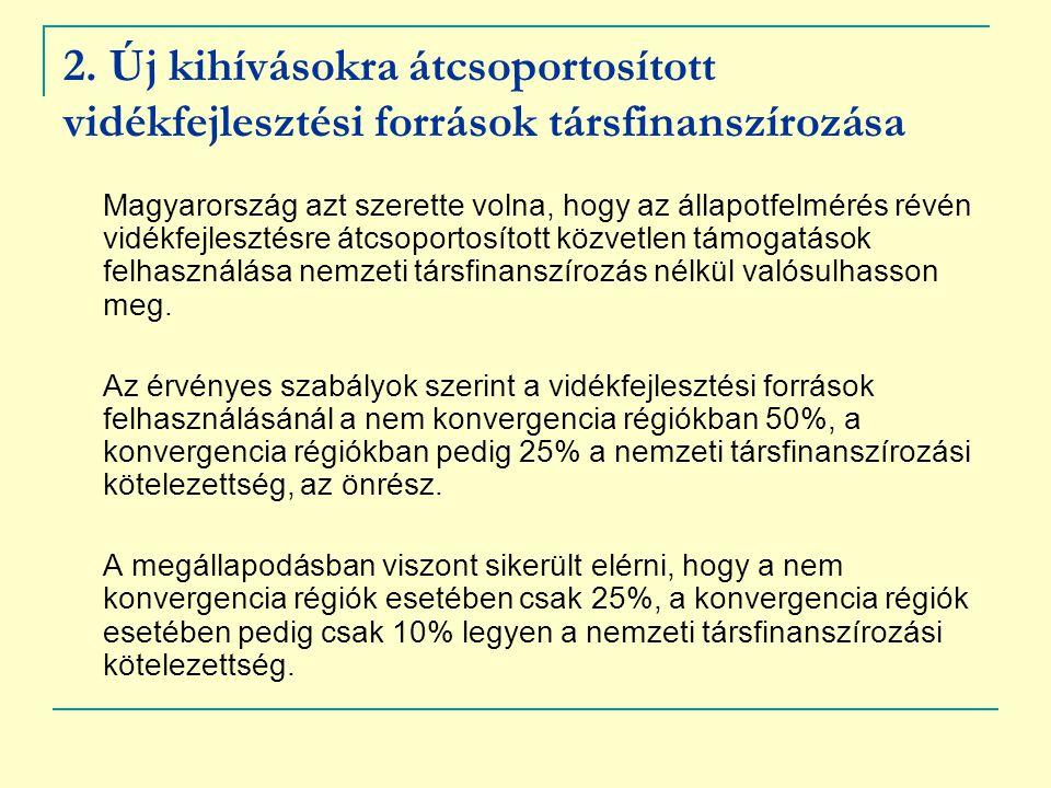 2. Új kihívásokra átcsoportosított vidékfejlesztési források társfinanszírozása Magyarország azt szerette volna, hogy az állapotfelmérés révén vidékfe
