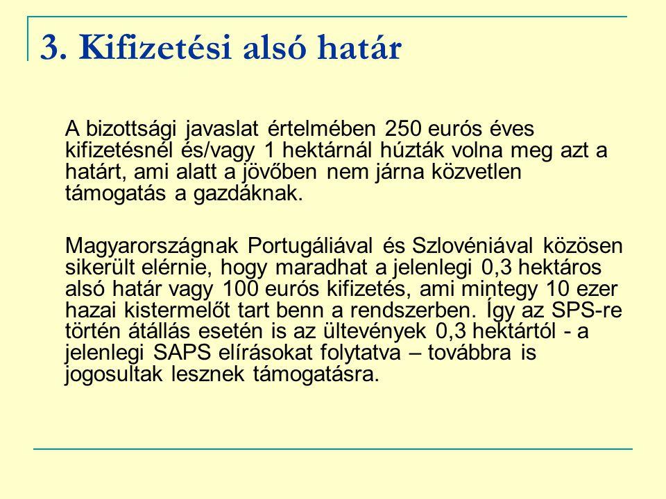 3. Kifizetési alsó határ A bizottsági javaslat értelmében 250 eurós éves kifizetésnél és/vagy 1 hektárnál húzták volna meg azt a határt, ami alatt a j